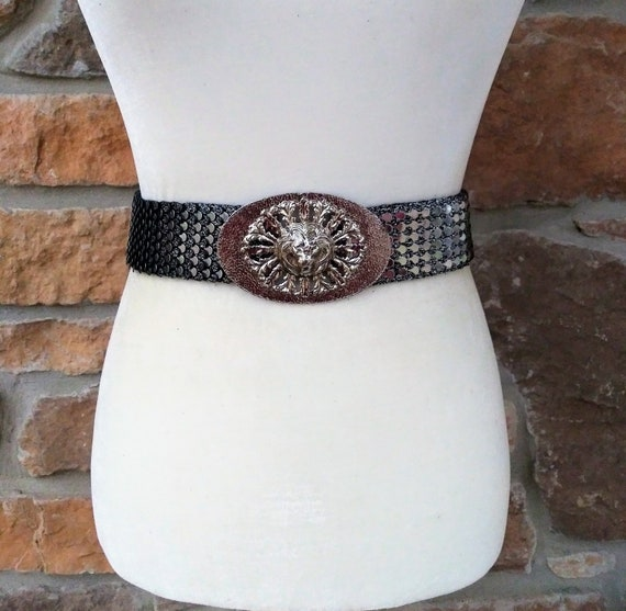 Elastic Stretchy Snake Fish Scale Silver Metal Disco Retro Vintage Belt Slinky Shiny Oval Textured Buckle