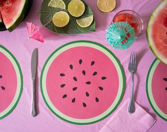 Essential Home Fruit Square Watermelon Strawberry Red Placemat Lot of 12