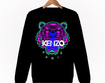 58d3af4e52e Sweatshirt Kenzo Violet Tigre Tiger Enfant mixte Italy Milan Fashion Paris  Logo Designer Hoodie Noir