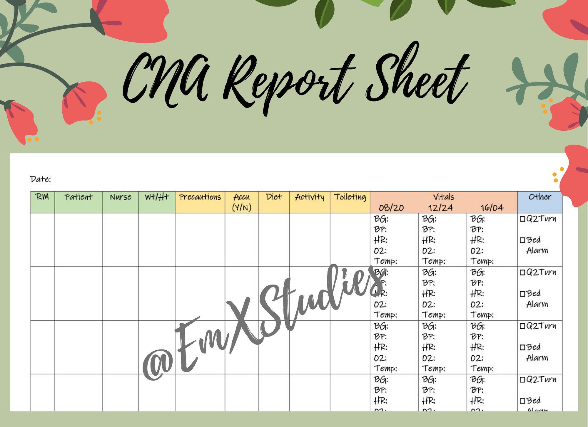 CNA Report Sheet, CNA daily flowsheet, PCT Report Sheet For Nursing Assistant Report Sheet Templates