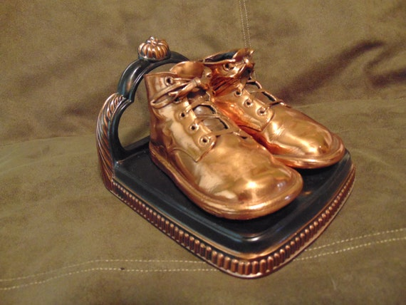 Vintage Bookend Bronzed baby shoes