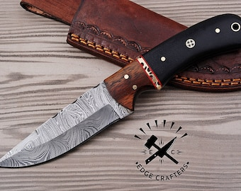 """Handmade Damascus Steel """"8 Bushcraft Knife, Hunting, Camping, Survival, Collectors, Groomsmen Knife, Unique Gift for Him, Hiking(SK19)"""