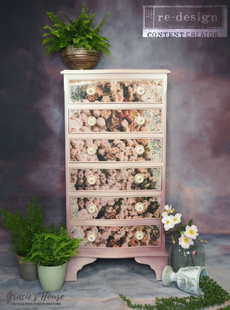Brand New Redesign With Prima Beautiful Dream Decoupage Decor Tissue Paper Fabric Like Pink Flowers Accent Paper For Furniture /& Projects