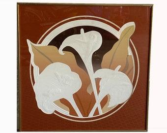 David Goodall. Original Signed Print. Embossed Floral Print. 1980s Art. Vintage Wall Art. Art Deco Wall Art. Neutral Tones
