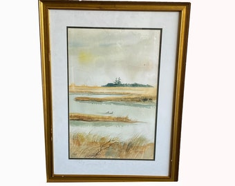 Ray Youngblood. Two Loons. Swampland. Landscape Painting, Vintage Watercolor. Signed Painting. Original Framed Art. Vintage Wall Art.