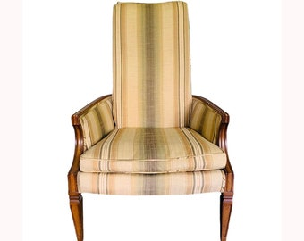 Mid Century Upholstered Accent Chair. Side Chair. Slipper Chair. Yellow Striped Chair
