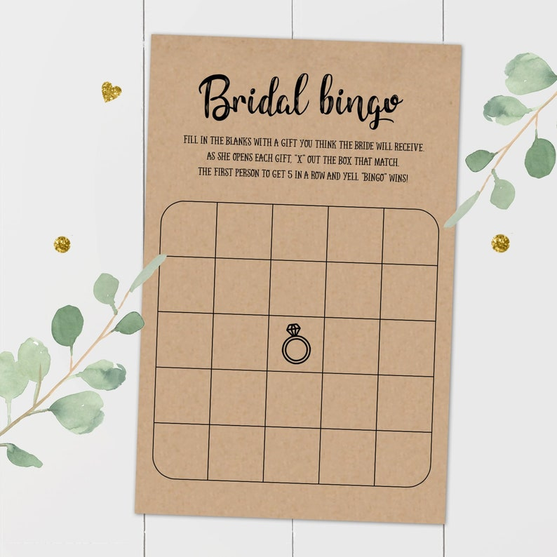 graphic about Bridal Bingo Printable referred to as Bridal shower Bingo Playing cards, Bridal Bingo Playing cards, Bridal Bingo Printable, Bridal Bingo Recreation, Rustic Bridal Shower Bingo Sport, Kraft recreation, PDF