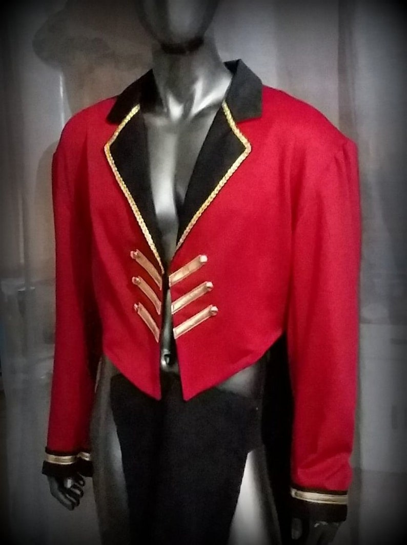 Mens Circus Ringmaster Costume Jacket red black