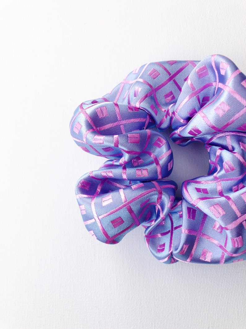 Silk Scrunchy Hair Tie Satin Scrunchies Pink and Purple Patterned Satin Scrunchie Large Scrunchie Gift for Her Ponytail Holder