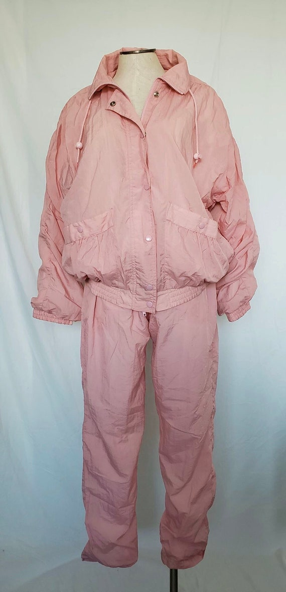 Vintage 1980's Pink Windbreaker Jacket and Pant S… - image 1