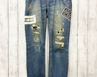 Vintage men/'s acid wash jeans with patches get used brand jeans size 38 80s 90s