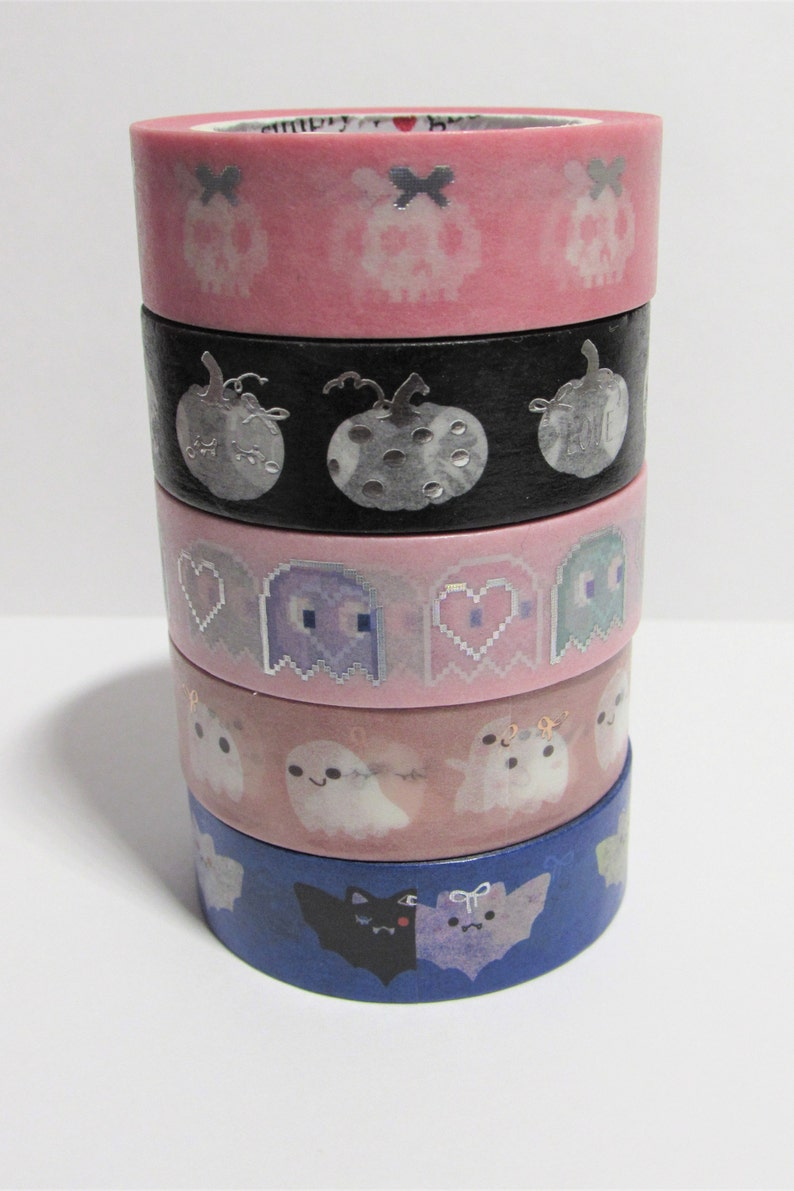 Washi Tape Sample 15 mm Pumpkin Halloween Cute Washi Tape Simply Gilded Foil Washi Tape 24 length Ghosts Bats