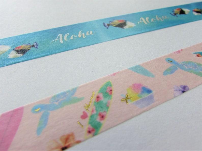Surfboard Aloha Hawaiian Themed Washi Cute Washi Tape Surf/'s Up Washi Tape Sample 15 mm 24 length