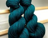 Peacock Plume- hand dyed yarn - teal yarn - lace sock fingering sport dk worsted aran - superwash - blue yarn - knit gift