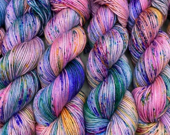 Monet ~ washes of pastel colors speckled with spring flower colors - hand dyed yarn - available in any weight
