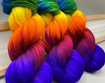 Rainbow Brite ~ hand dyed yarn  - lace / sock / fingering / sport / dk / worsted / aran / bulky yarn / super bulky - rainbow - superwash