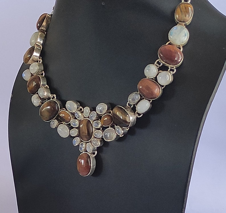christmas gift new year gift anniversary gift Rainbow Moonstone 925 sterling silver plated handmade necklace Tiger Eye gift for her