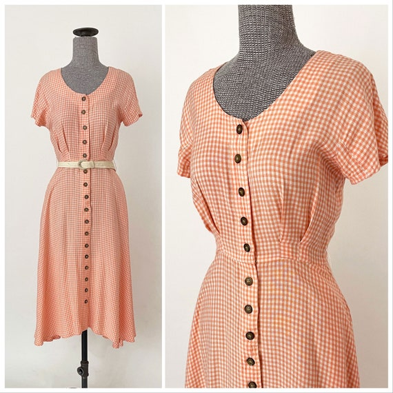 90s Peach Gingham Button Front Midi Dress | Circle