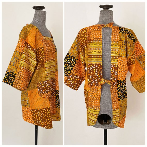 1970/'s Floral Print Smock Jacket Loungewear Kimono Sleeve