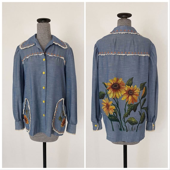 70s Chambray Embroidered Folk Blouse with Hand Pai