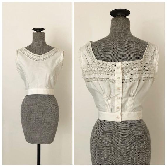 1940s White Cropped Crochet Lace Button Back Blous