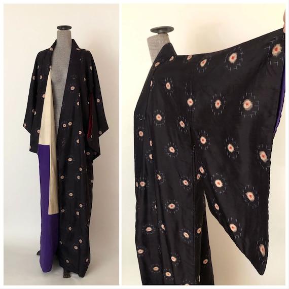 Vintage Black Silk and Cotton Full Length Kimono |