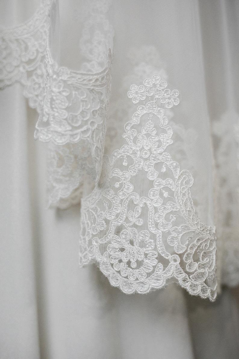 Classic Mantilla Fingertip Length Veil \u2022 Elyn Tang Bridal