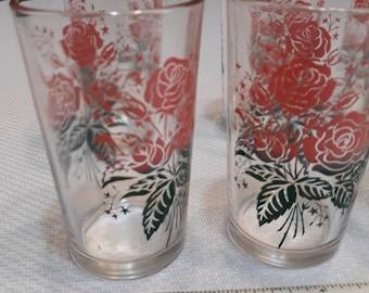 Set of 5 Vintage 1980\u2019s Floral Glasses with Pink Roses Drinking Glass