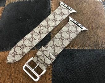787ec3a9fdb GUCCI Monogram Apple Leather Watch Band Series 1