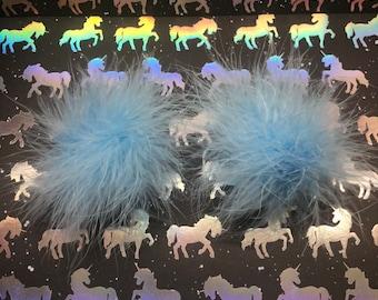 Baby Blue Fuzzy Marabou Hair Clips