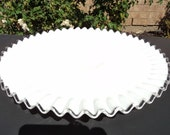 Vintage FENTON SILVERCREST Pedestal Glass CAKE Plate White Ruffled Edge Cake Plate Vintage Fenton Cake Plate Collector Glass Antique Glass