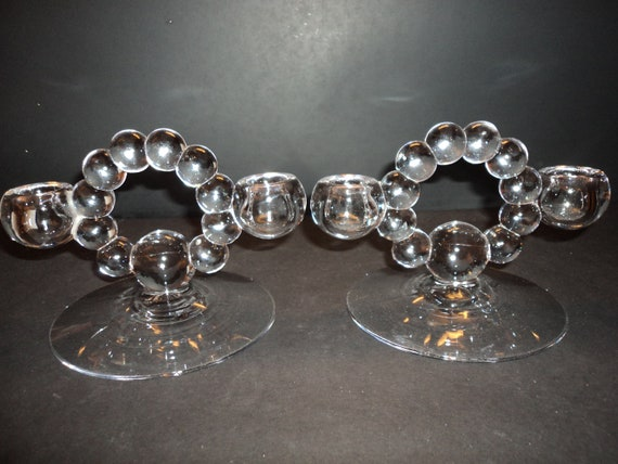 Imperial Crystal Vintage Candlewick Pattern Double Candleholder
