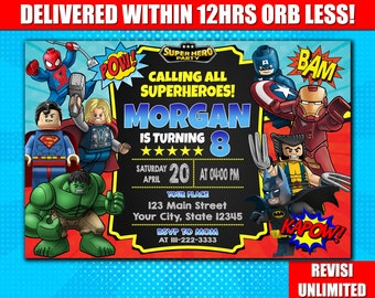 Avengers Lego Birthday Invitation Personalized 4x6 Or 5x7