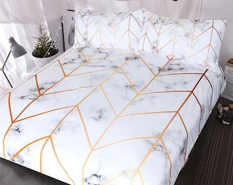 aa1fa6acfb Marble Gold Duvet Cover Geometric marble stone Quilt Cover Bedding Set