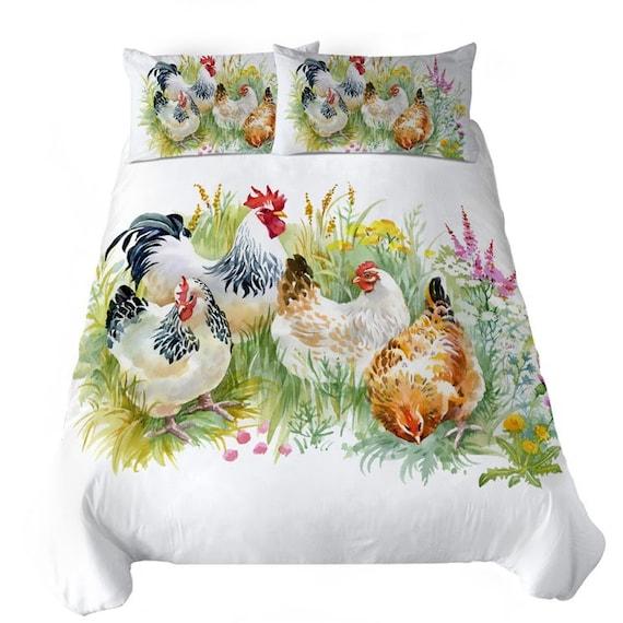 Rooster Duvet Cover Chicken Quilt Cover Bedding Set Decor Farm Etsy