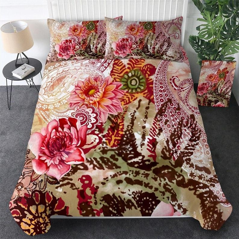 Gradient Flowers Duvet Quilt Cover Pillow Case Set Quilt Bedding Set All Sizes