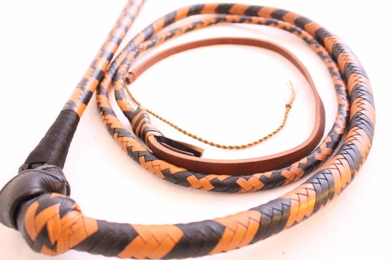 Heavy Duty 12 Plait Nylon Weaving Yellow /& Black Real Whip Bull whip 6 Ft Long