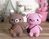 Hainchan - Pinky The Little Pig And Brownie The Little Bear - Amigurumi crochet pattern. Instant download. Languages English