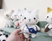 Hainchan - Silver Tabby Cat - Amigurumi crochet pattern. Instant download. Languages English