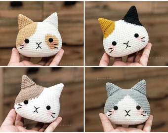 Hainchan - 4 Cat Head Crochet - Amigurumi crochet pattern. Instant download. Languages: English