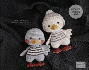 Hainchan - Nora The Little Duck - Amigurumi crochet pattern. Instant download. Languages: English
