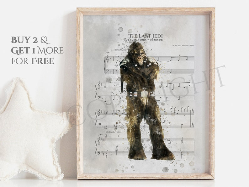 Star Wars print Music sheet print Alien Chewbacca poster Nursery wall art  Kids room decor Watercolor birthday gift idea playground M257