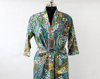 New Cotton Printed Kimono Nightwear Kimono Robe Bathrobe Beach Dress Women Night Robe,Cotton Kimono Intimate Sleepwear Body Crossover