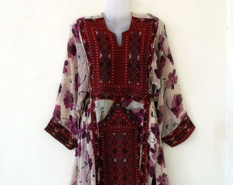 70s Authentic Afghanistan Tribal Gypsy Sz Sm  Vintage Hand Embroidered Beaded Tribal Dress   Quilted Cotton Bohemian Hippie Festival Dress
