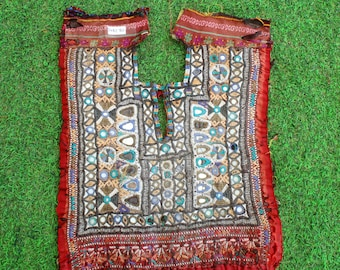 Rajasthani Patches Embroidery Yoke Ethnic Neck Yoke, Mirror Patch Rabari Patches Mirror Embroidery 70 Afghani Patch