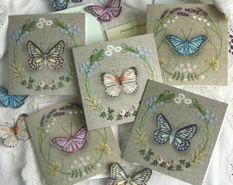 BUTTERFLY Greetings Card / A Lovely Card for Butterfly Lovers / Choose your favourite colours, Pink, Blue, Purple, Orange, Cream