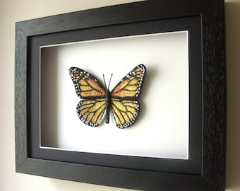 Framed Orange Embroidery Butterfly / inspired by Monarch Butterfly / in black or white wooden box frame / Original textile art / Decor /Gift