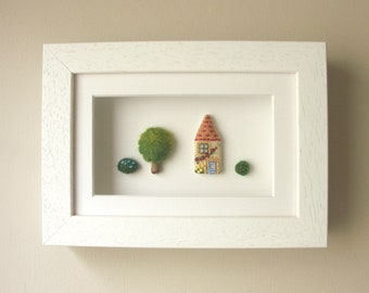 Framed original textile artwork / No.6 Honeywell Lane / House with flowers & Pink roof / Wall art - House-warming Gift, New Home / Decor