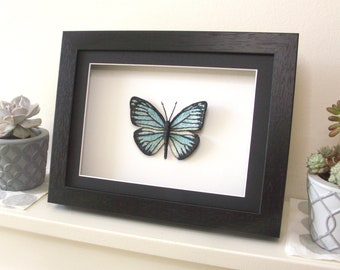Framed Blue Embroidery Butterfly / inspired by Common Wanderer / in black or white wooden box frame / Original textile art / Decor / Gift