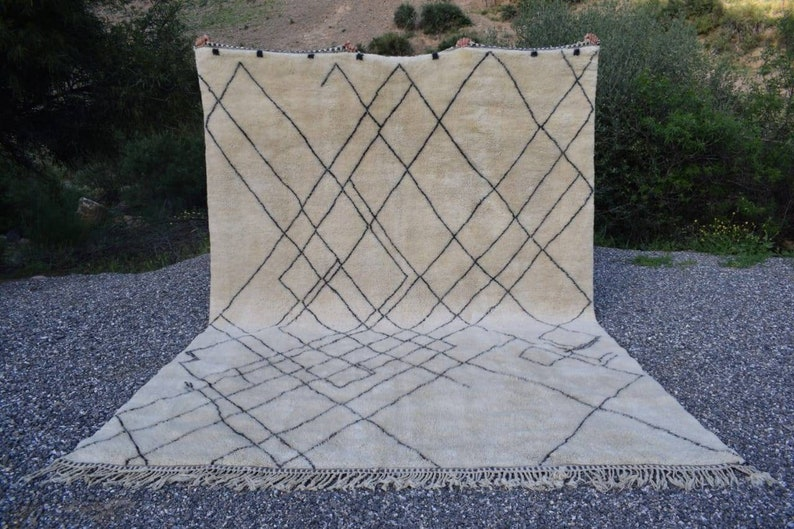 9x12 8x10 10x13 Moroccan Beni Ourain Wool Rug Tapis Berbere Etsy